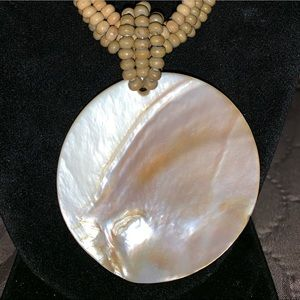 Jewelry - Multi Strand Wooden Bead Shell Necklace